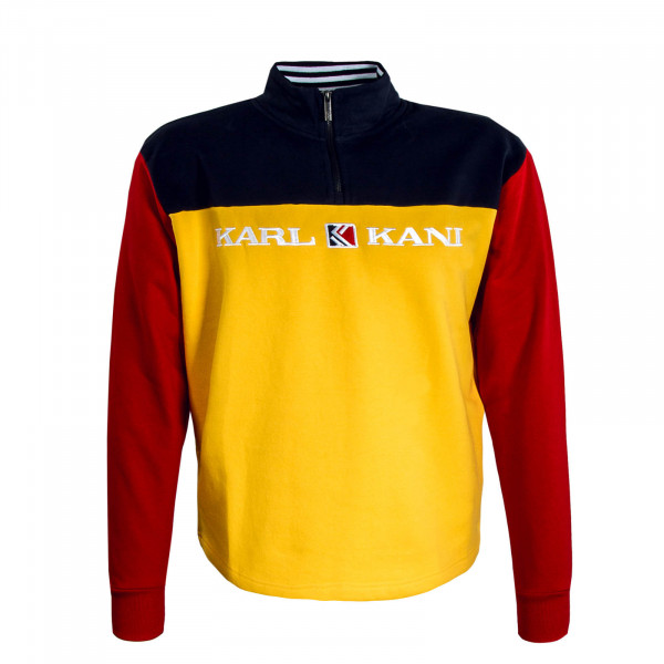 Herren Sweat Retro Block Troyer Yellow Navy