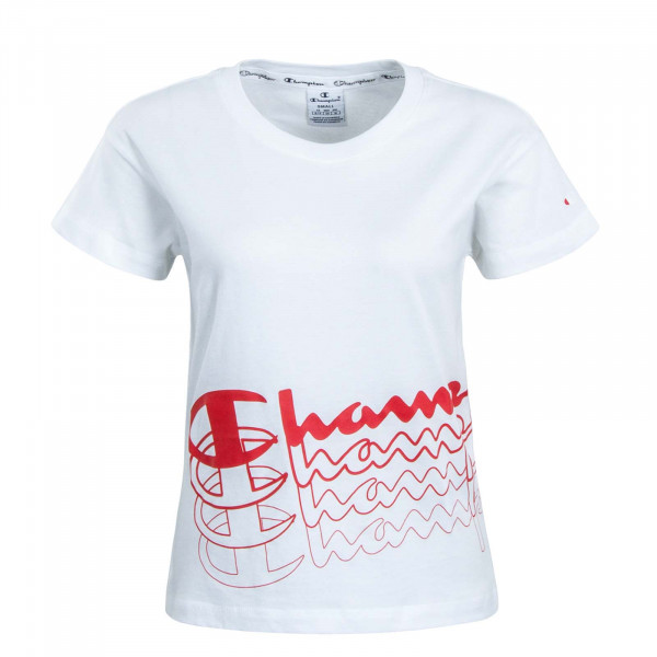 Damen T-Shirt Crop 111324 White Red