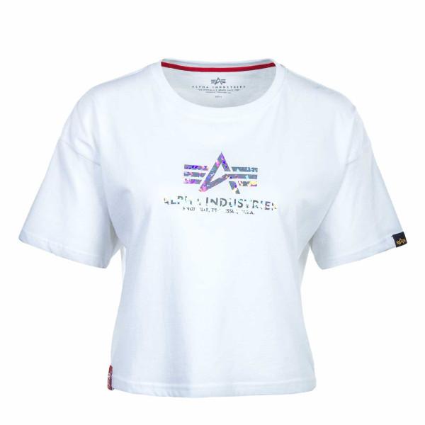 Damen T-Shirt - Basic COS Hol Print - White / Silver