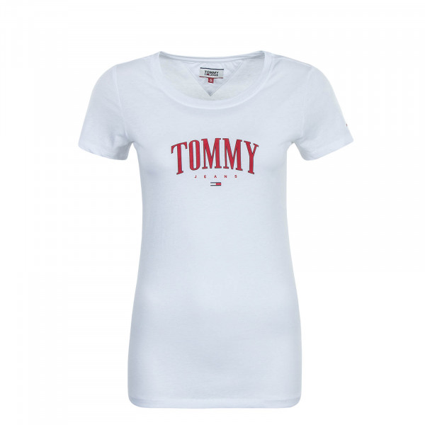 Damen T-Shirt Script White Red