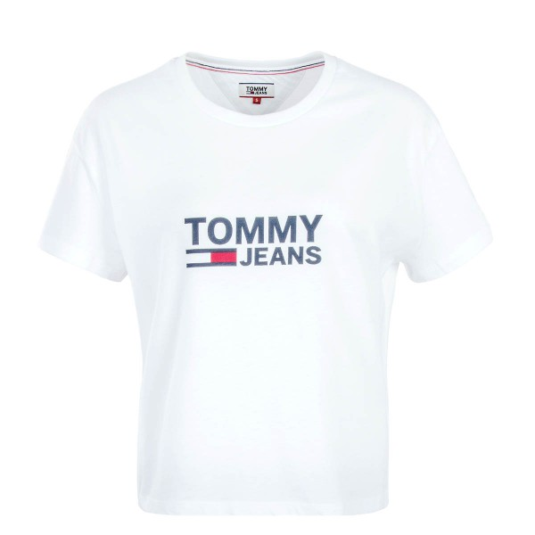 Tommy Wmn TS Crop Flag White