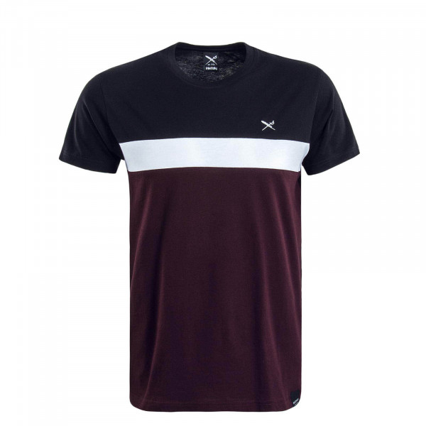 Herren T-Shirt Court Bordeaux Black White