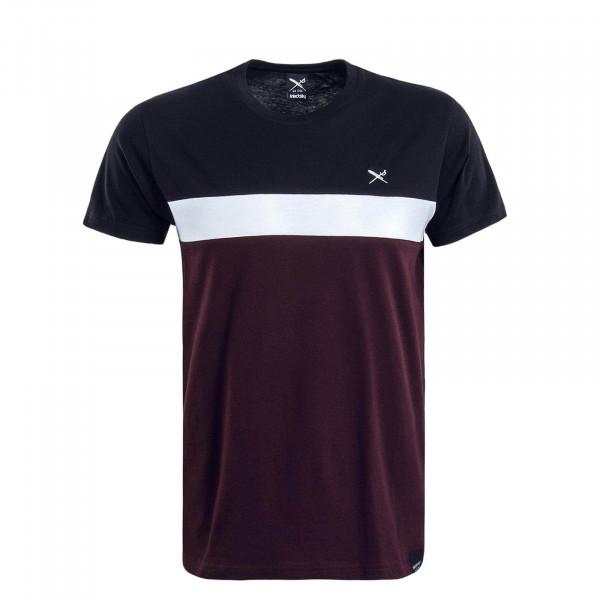 Herren T-Shirt Court Bordeaux Black White