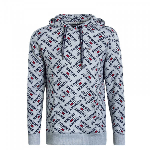 Herren Hoody Allover Print Grey Multi