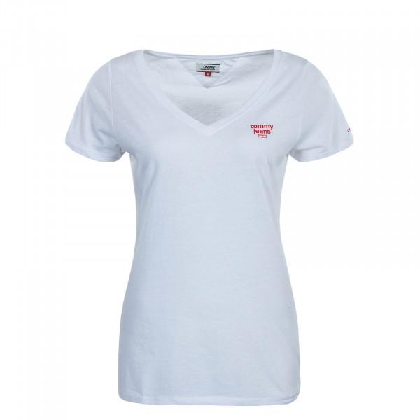 Damen T-Shirt Logo V White