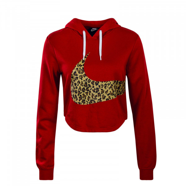 Hoody Crop Red Animal Brown