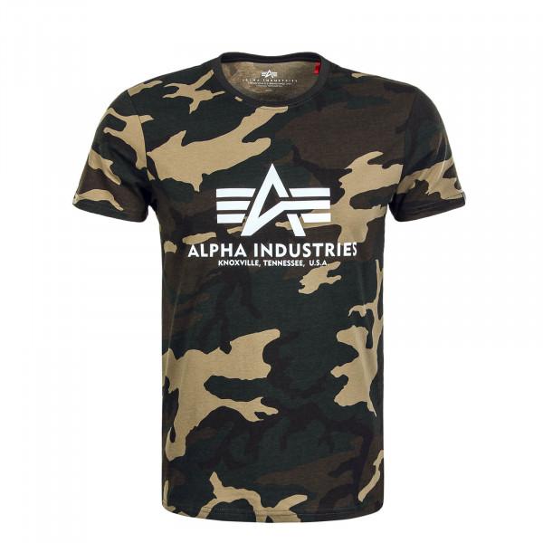Herren T-Shirt Basic Wood Camouflage 65 Olive