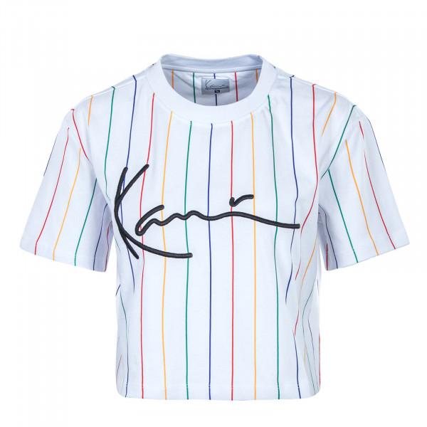 Damen T-Shirt - Signature Pinstripe - White