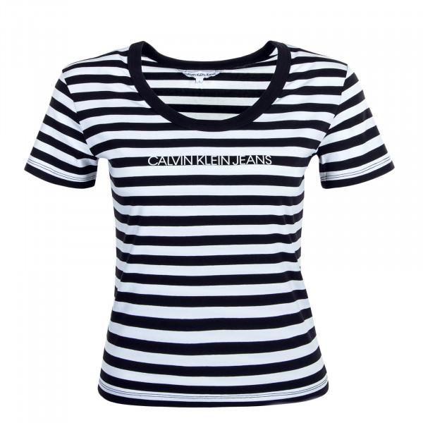 Damen T-Shirt Stripes Baby Black White