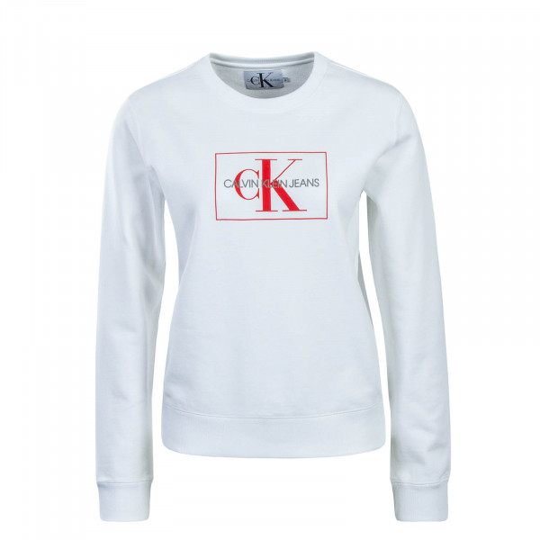 CK Wmn Sweat Monogram Outline White