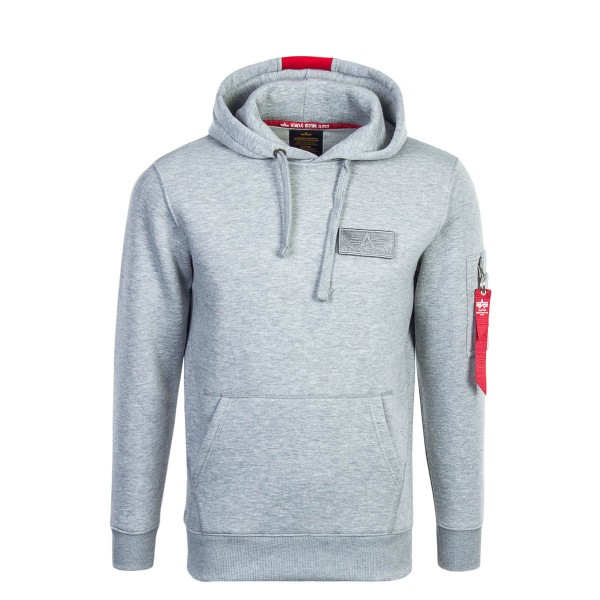Alpha Hoody Red Stripe Grey
