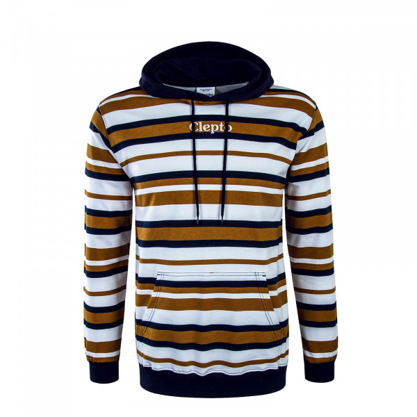 Herren Hoody Multi Stripe White Brown Navy
