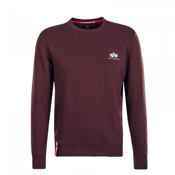 Herren Sweatshirt Basic Sweater Small Bordeaux White