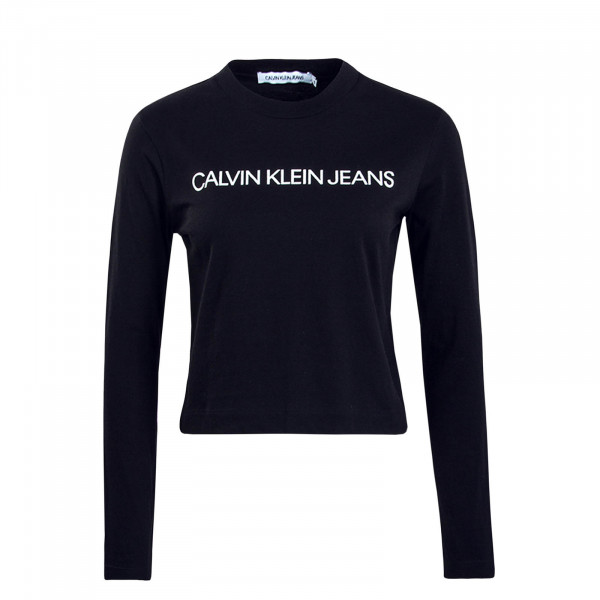 Damen Longsleeve Logo Crop Black White