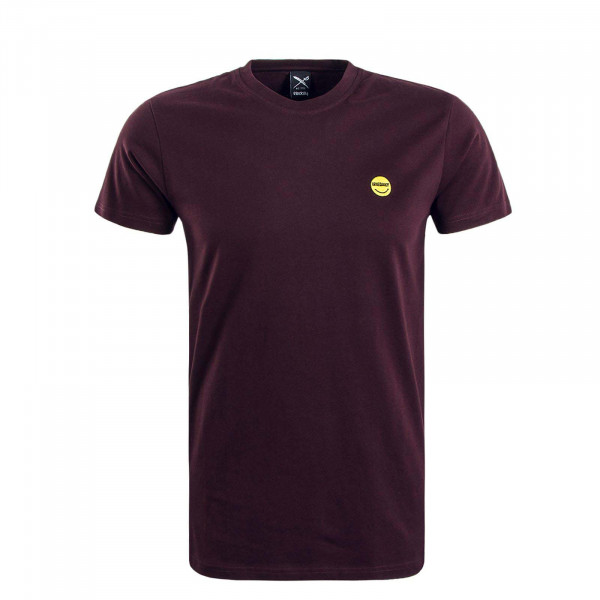 Herren T-Shirt Happy Juri Bordeaux Yellow