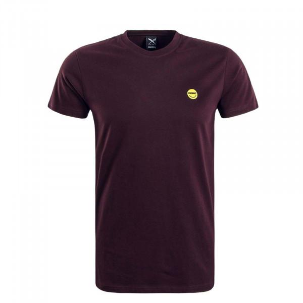 Herren T-Shirt Happy Juri Bordeaux Yellow
