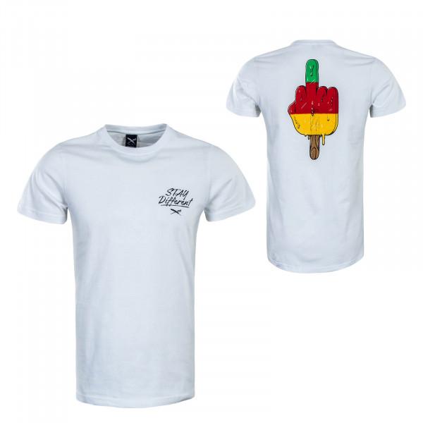 Herren T-Shirt Big Bad Finger White