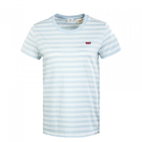 Damen T-Shirt - Perfect Sherbert Stripe Plein - light blue