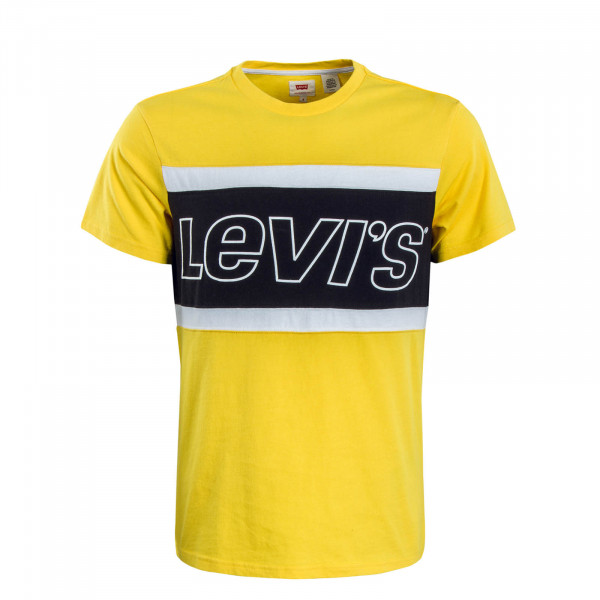Herren T-Shirt Color Block Jersey Yellow Black