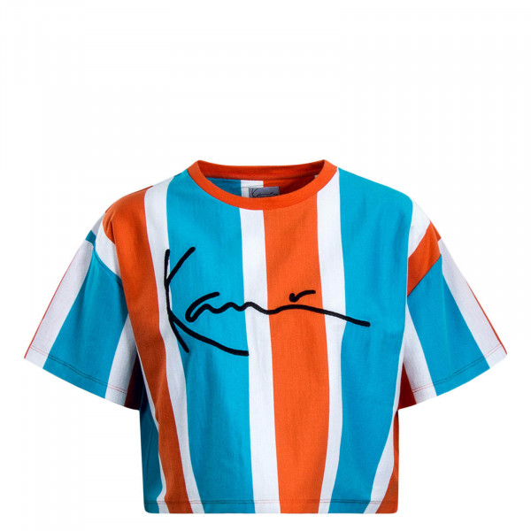 Damen T-Shirt Crop Signature Blue Orange