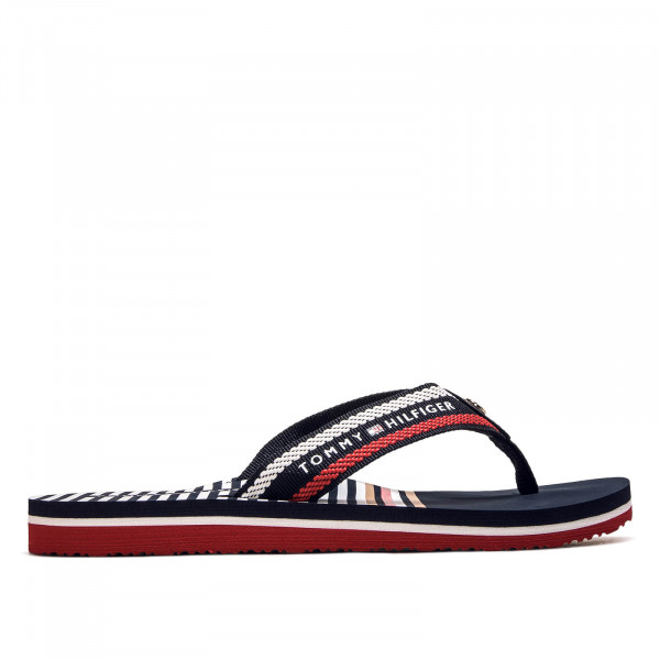 Damen Schlappe Slide Stripy Flat Beach Navy