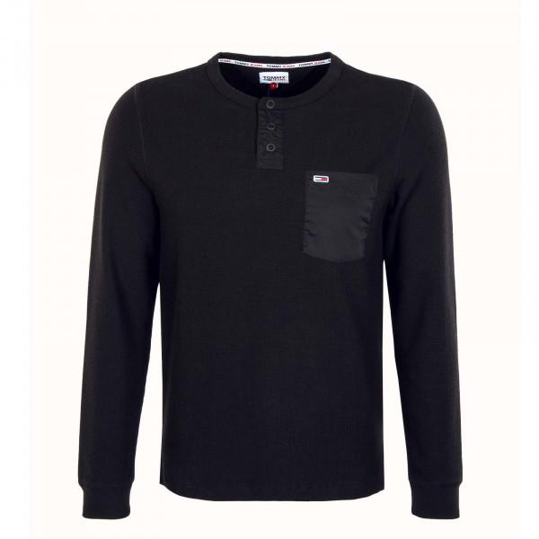 Herren Longsleeve - TJM Waffle Pocket - Black