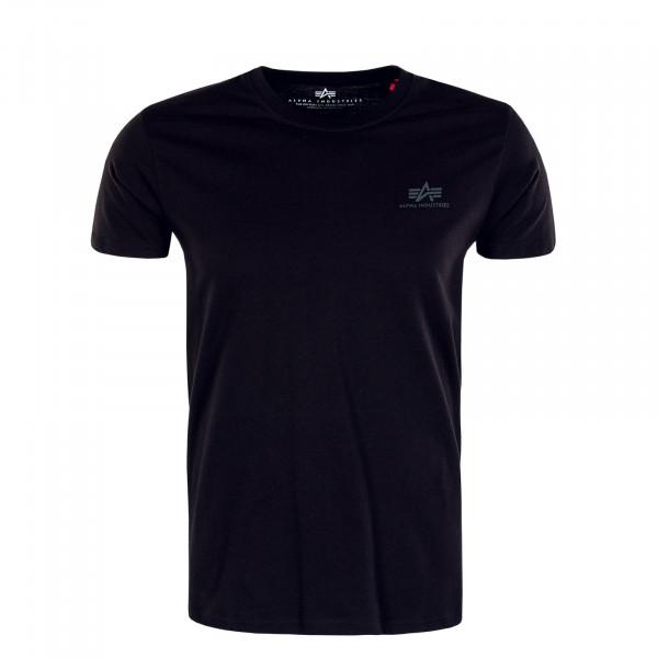 Herren T-Shirt - Basic Small Logo Rainbow Reflective - Black