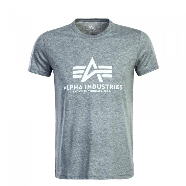 Herren T-Shirt Basic Light Grey White