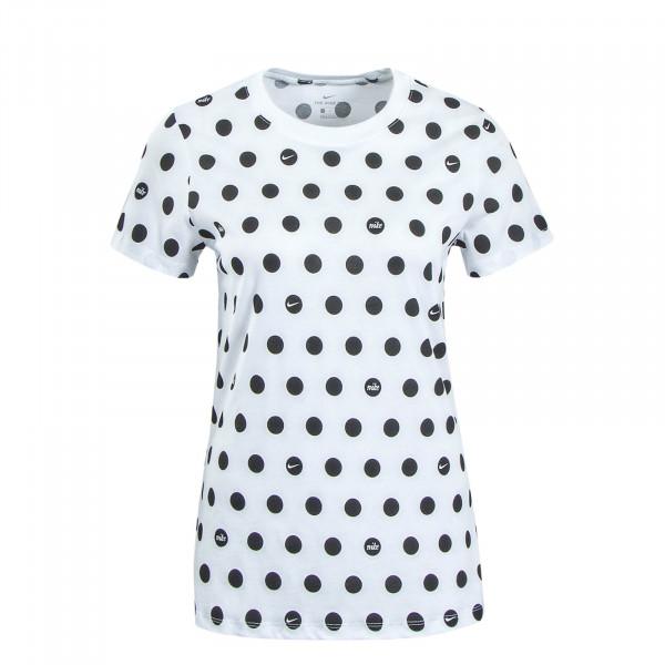 Damen T-Shirt Polka Dot White Black