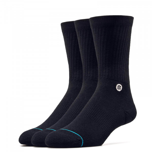 Stance Socks Uncom Solids Icon 3Pack Blk