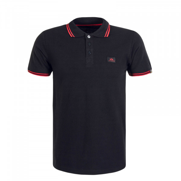 Herren Poloshirt Twin Stripe 2 Black Red