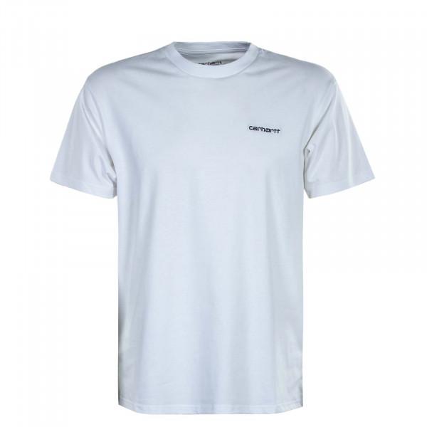 Herren T-Shirt - Script Embroidery - White / Black