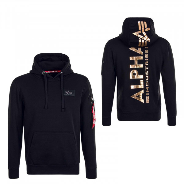 Herren Hoody Back Print Black Gold