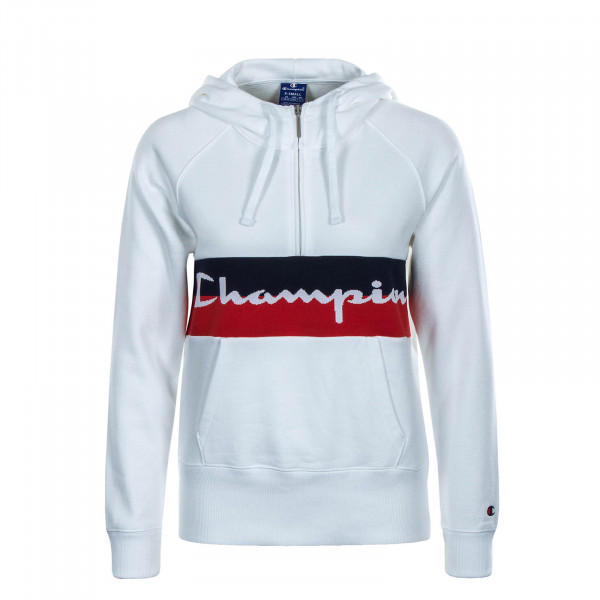 Damen Hoody Half Zip White Red Black
