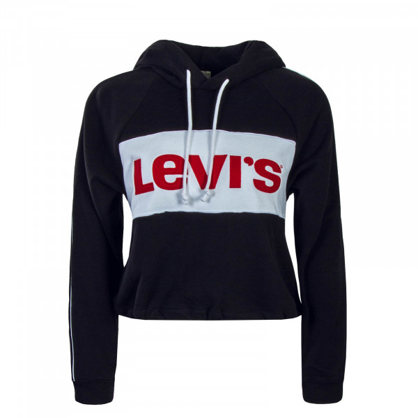 Levis Wmn Hoody Cropped Black White Red