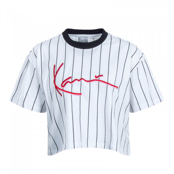 Damen T-Shirt Crop Signature White Black