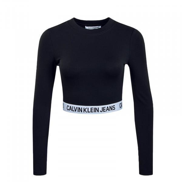 Damen Longsleeve Milano Sleeve Crop Black White