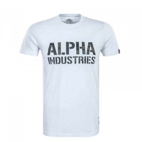 T-Shirt Camouflage Print White Black