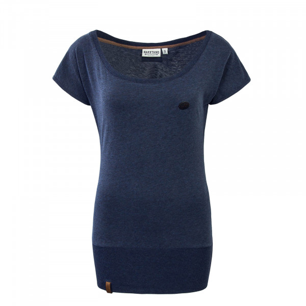 Damen T-Shirt Wolle Dark Night Navy