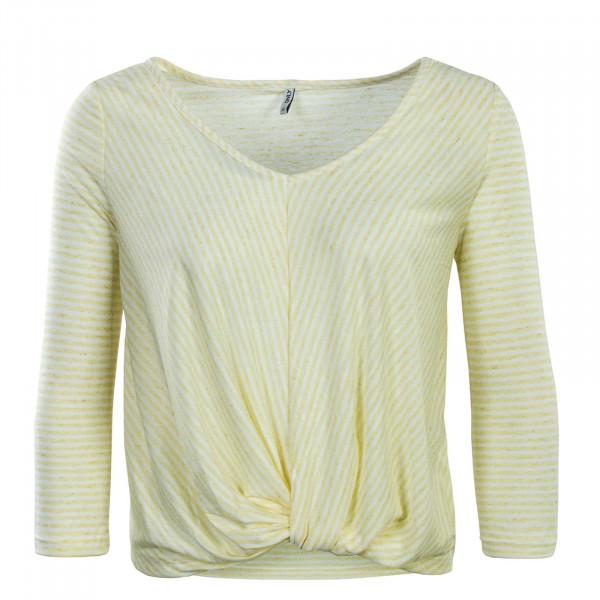 Damen Longsleeve 3/4 Winnie Wrap Stripe Yellow White