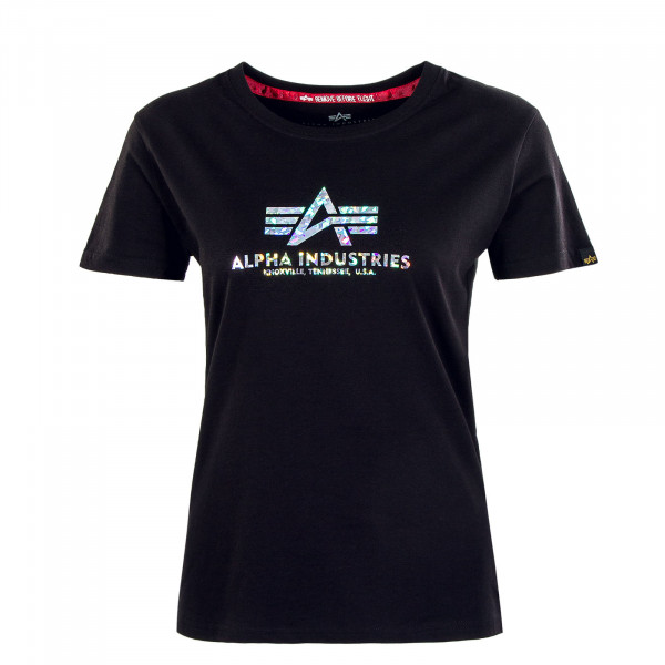 Damen T-Shirt - New Basic Holografic Print - Black / Silver
