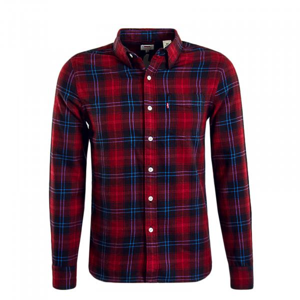 Herren Hemd - Sunset 1 Pocket - Red Black