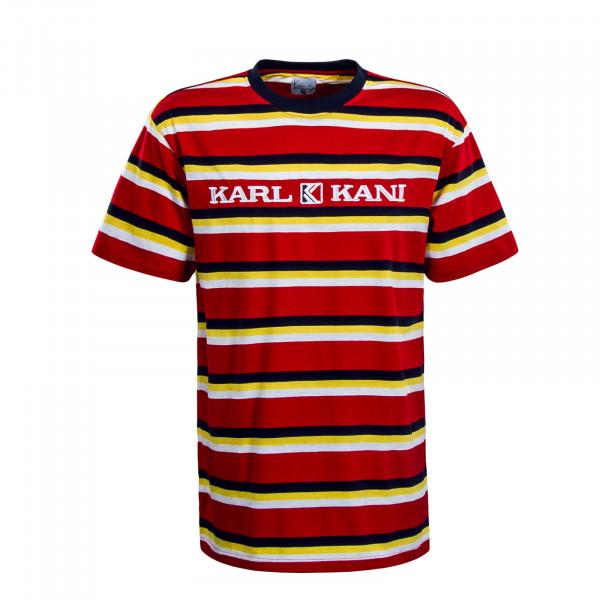 Herren T-Shirt Stripe Retro Red Navy Yellow