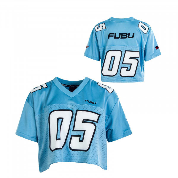 Damen T-Shirt Coporate Crop Football Jersey Blue White Black
