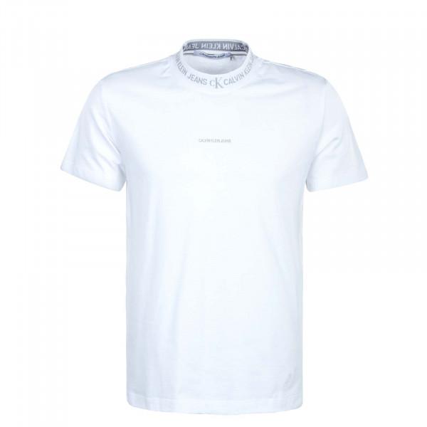 Herren T-Shirt - Logo Jacquard - White