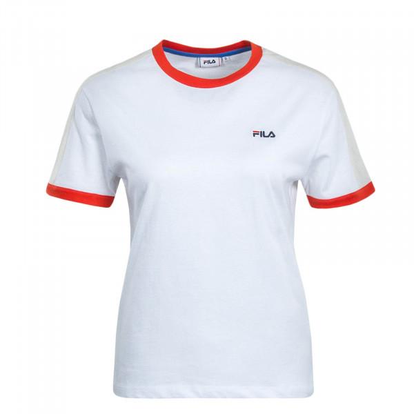 Damen T-Shirt Noreen White Red Beige