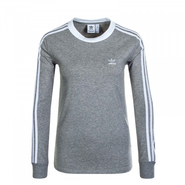 Damen Longsleeve 3 Stripe Grey White