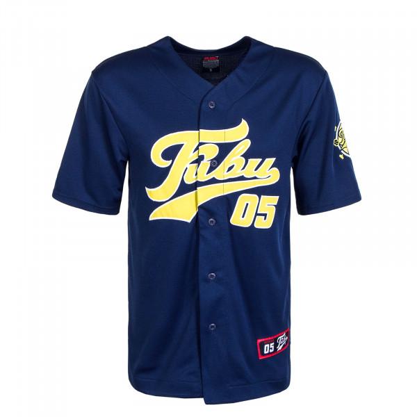 Herren T-Shirt Varsity Baseball Jersey Navy Yellow White