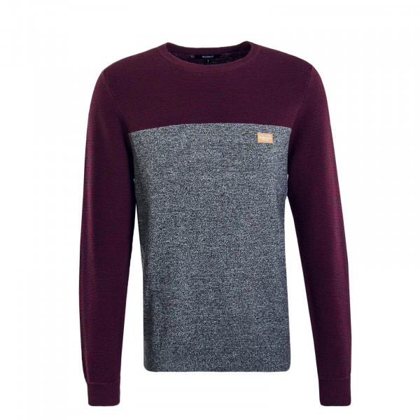 Herren Knit Auf Deck Stripe Bordeaux Grey