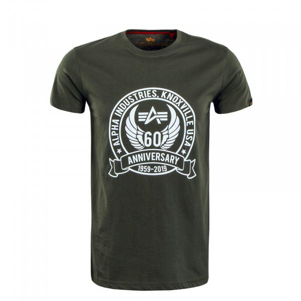Herren T-Shirt Anniversary Olive White